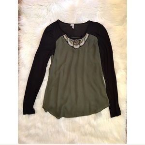 Olive and Black Embellished top size Small